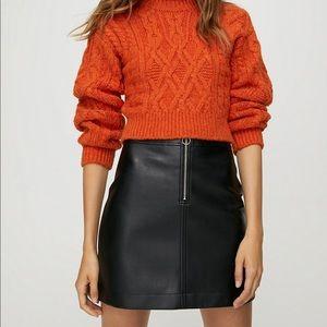 Aritzia Wilfred Faux leather black zipup miniskirt
